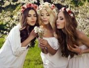 girls in elegant dresses and flower's headband